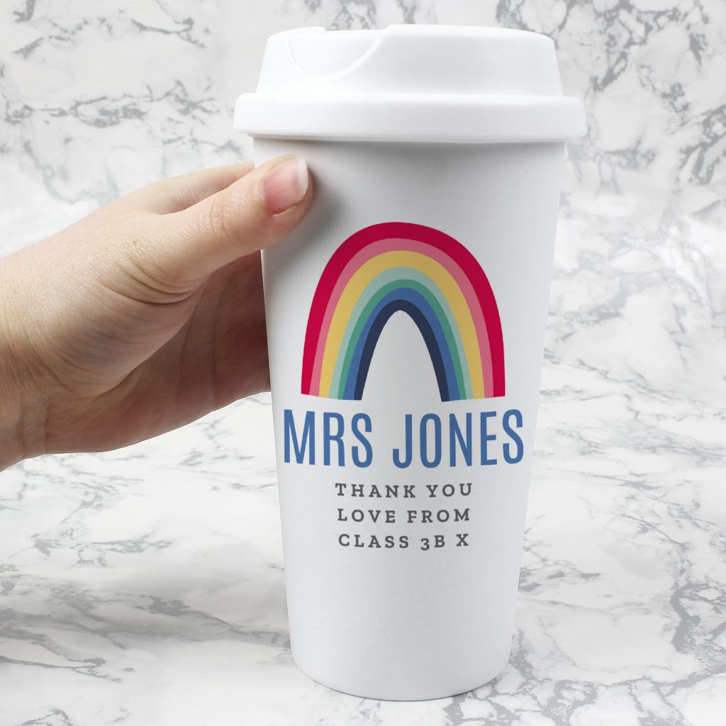 Personalised Rainbow Insulated Eco Travel Cup