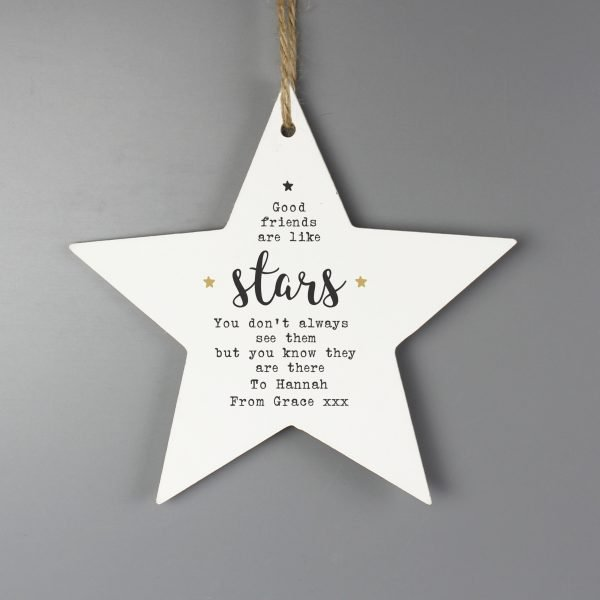 Personalised Good Friends Wooden Star Decoration