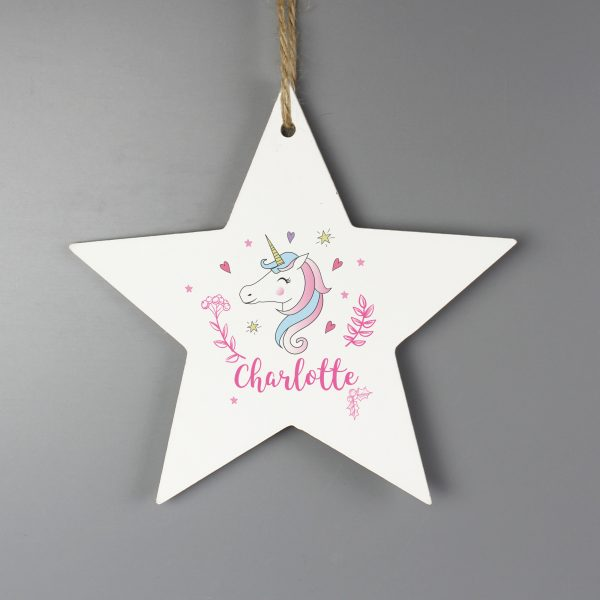 Personalised Unicorn Wooden Star Decoration