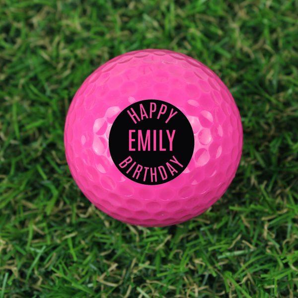 Personalised Happy Birthday Pink Golf Ball
