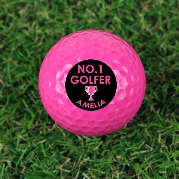 Personalised No.1 Golfer Pink Golf Ball