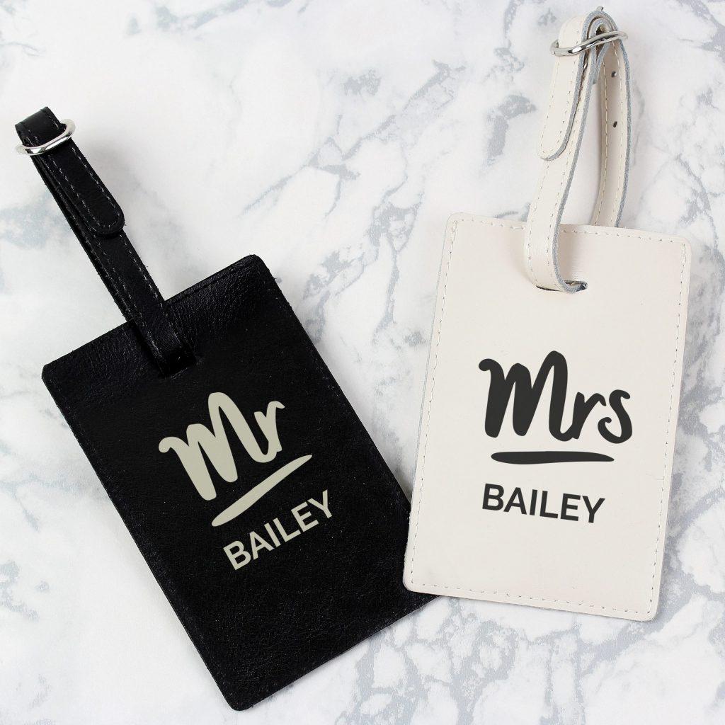 Personalised Mr & Mrs Black & Cream Luggage Tag Set