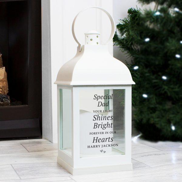 Personalised 'Your Light Shines Bright' White Lantern