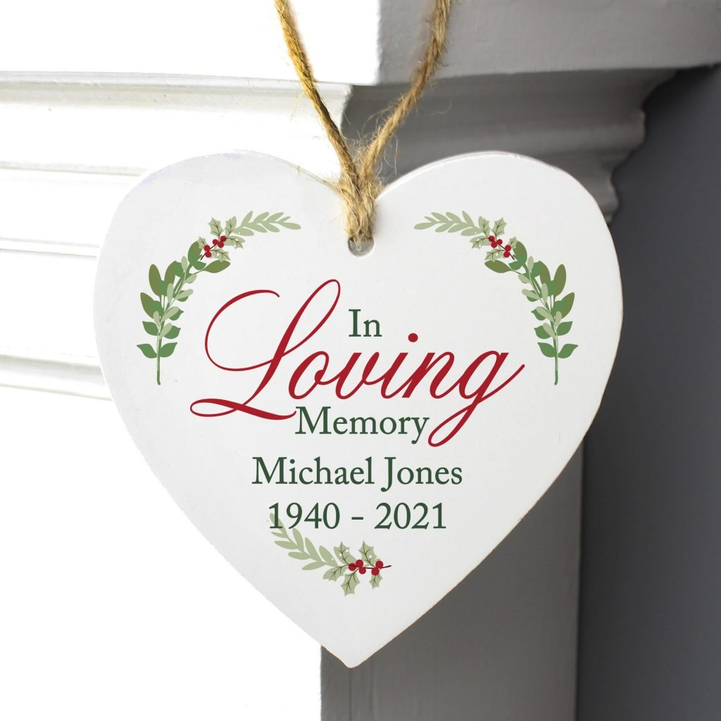 Personalised In Loving Memory Wooden Heart Decoration
