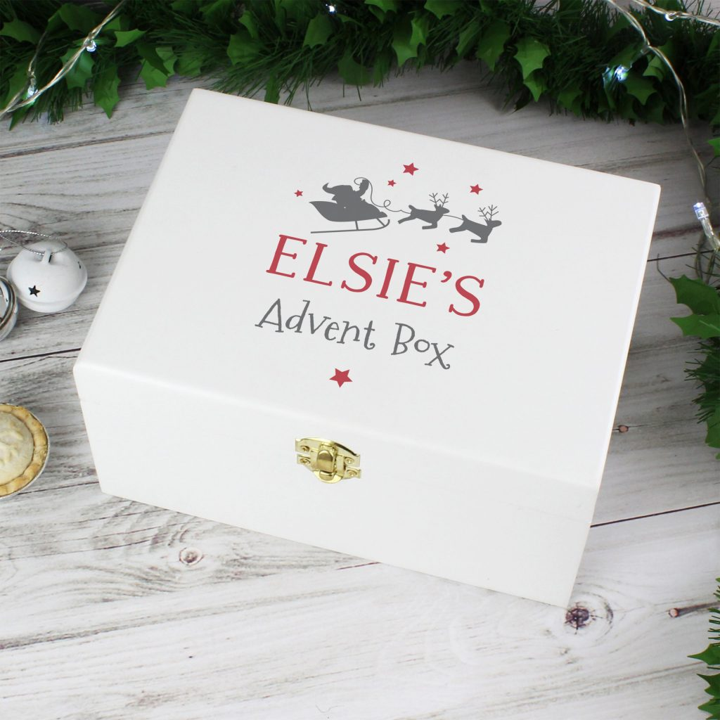 Personalised Christmas Eve White Wooden Box